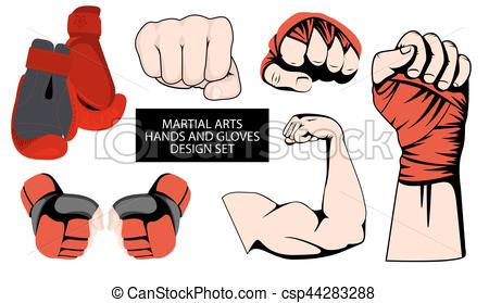MMA or boxing red gloves hand design element set - csp44283288