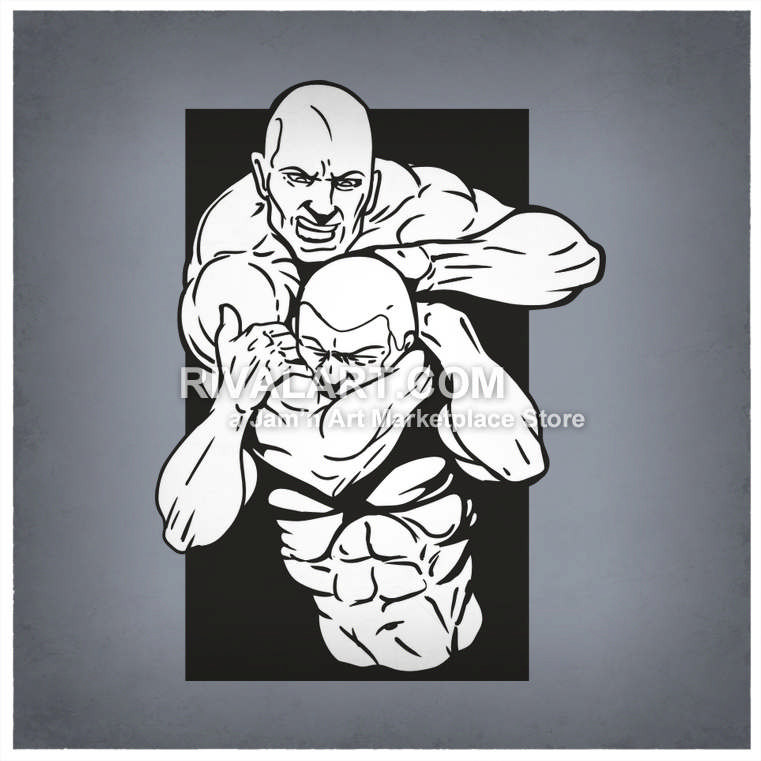 Vector Clipart of Black White Mixed Martial Arts Mma Untimate Fighting  Fighters Ufc Cage Graphic Submission