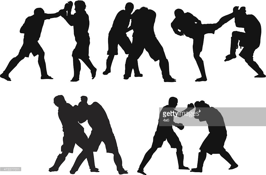 Mixed martial arts fighters fighting