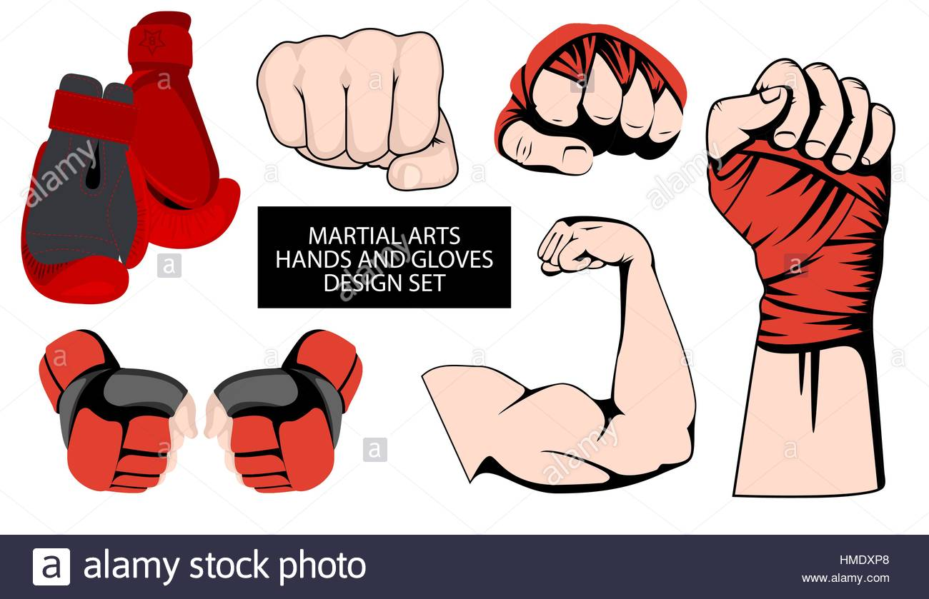 MMA or boxing red gloves hand design ele-MMA or boxing red gloves hand design element set. Mixed martial arts  collection. Fighting fist emblem or logo idea. Vector athletic hands icon-15