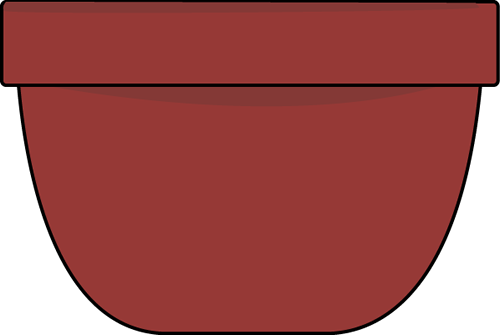 Mixing Bowl Clip Art Image - large burgundy mixing bowl with a black outline.
