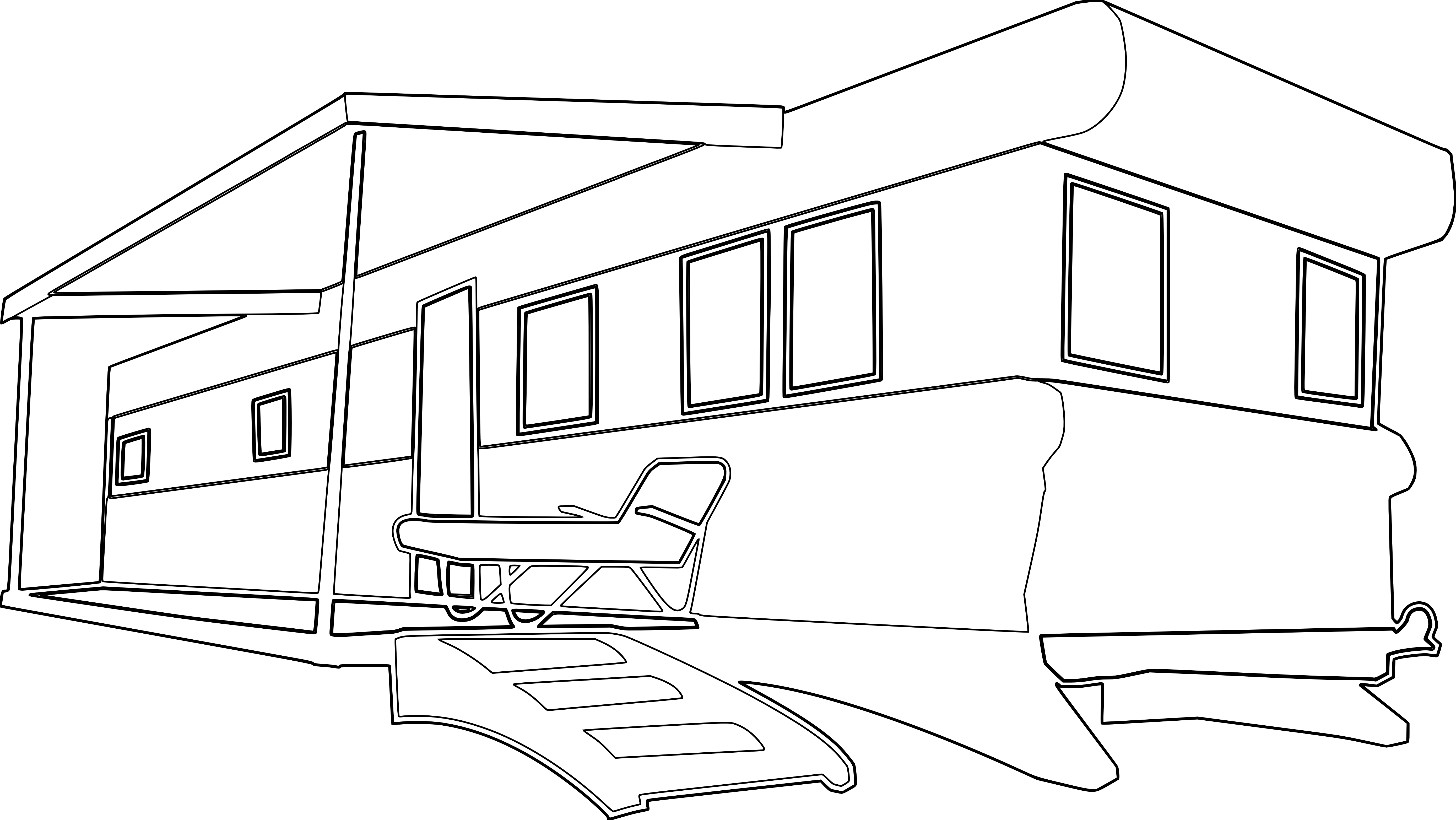 Mobile Home Black White Line  - Mobile Home Clipart