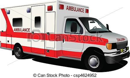 ... Modern ambulance van over white. Colored vector illustration.