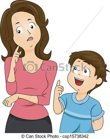 ... Mom and Son Questions - Illustration of a Confused Mom.