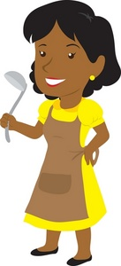 Mom Clipart Image: Clip Art Illustration Of A Dark Skinned Woman Holding A Ladle