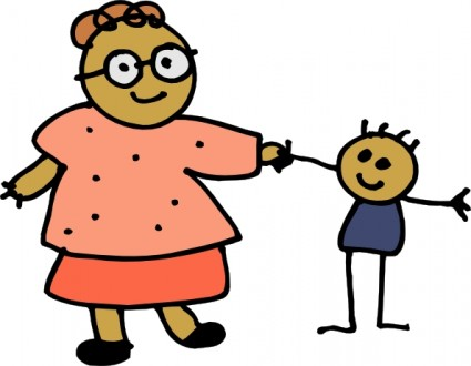 Mom Holding Childs Hand clip art Vector clip art - Free vector for