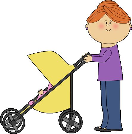 Mom Pushing Baby Stroller