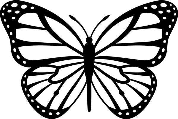 Monarch Butterfly Black White image - vector clip art online