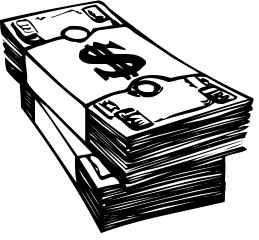 Money black. Clipart and white