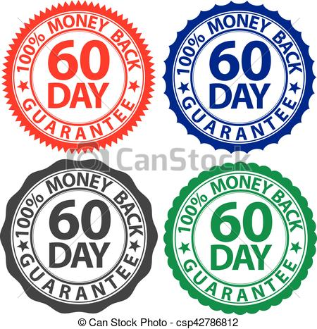 60 Day 100% Money Back Guarantee Sign Se-60 Day 100% Money Back Guarantee Sign Set, Vector Illustration-3