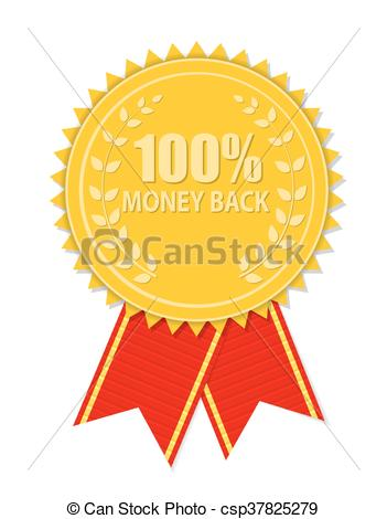 Gold Label 100 Money Back. Vector Illust-Gold Label 100 Money Back. Vector Illustration-10