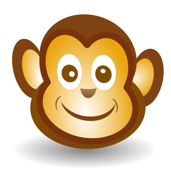 monkey face clip art black and white