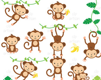 Monkey Clipart / Monkeys Clipart / Baby Monkey Clipart
