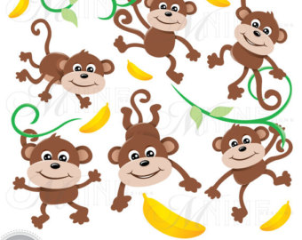 MONKEYS Clip Art: Monkey Clipart, Monkeys Download, Zoo Monkey Clipart Vector Art Party Animal Graphics