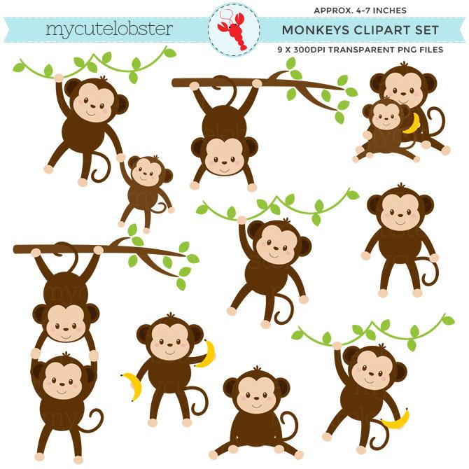 Monkeys Clipart Set - Clip Art .-Monkeys Clipart Set - clip art .-19