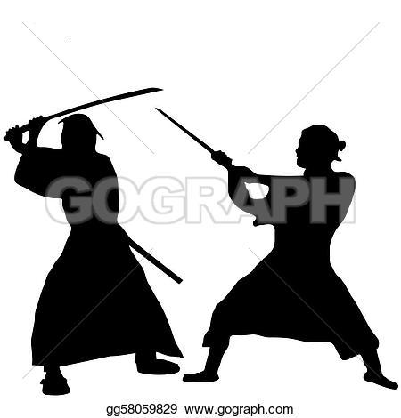 Monochrome Samurai Mask U0026middot; Two-Monochrome samurai mask u0026middot; Two Samurai fighter silhouette-7