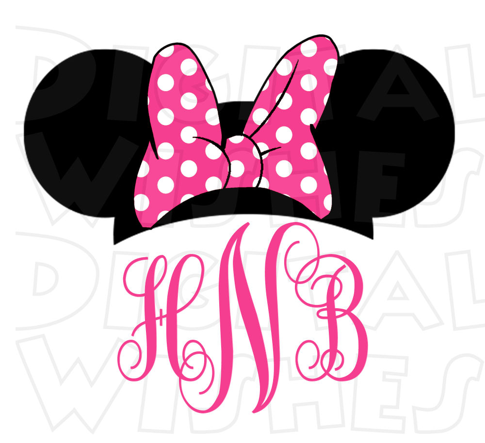 Monogram Minnie Mouse ears .
