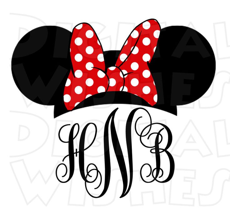 Monogram Minnie Mouse ears pink or red PERSONALIZED initials digital clip art image :: My