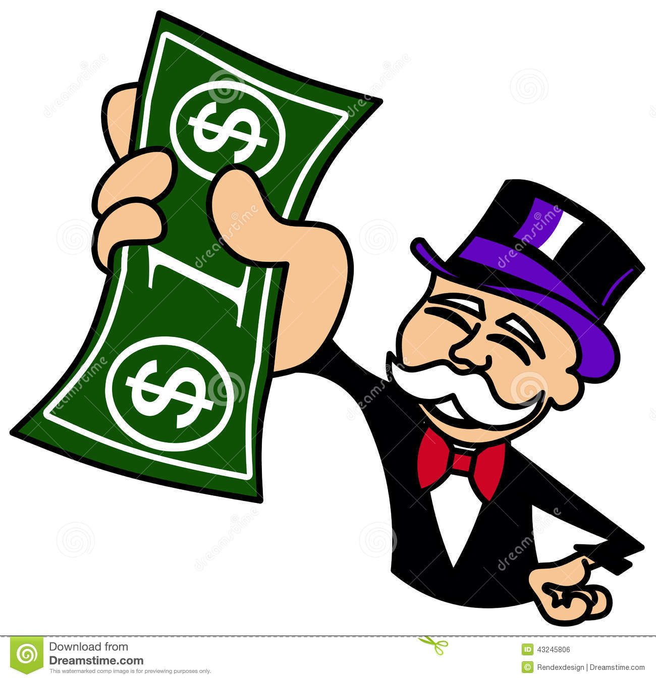Monopoly Guy holding one dollar bill Royalty Free Stock Image