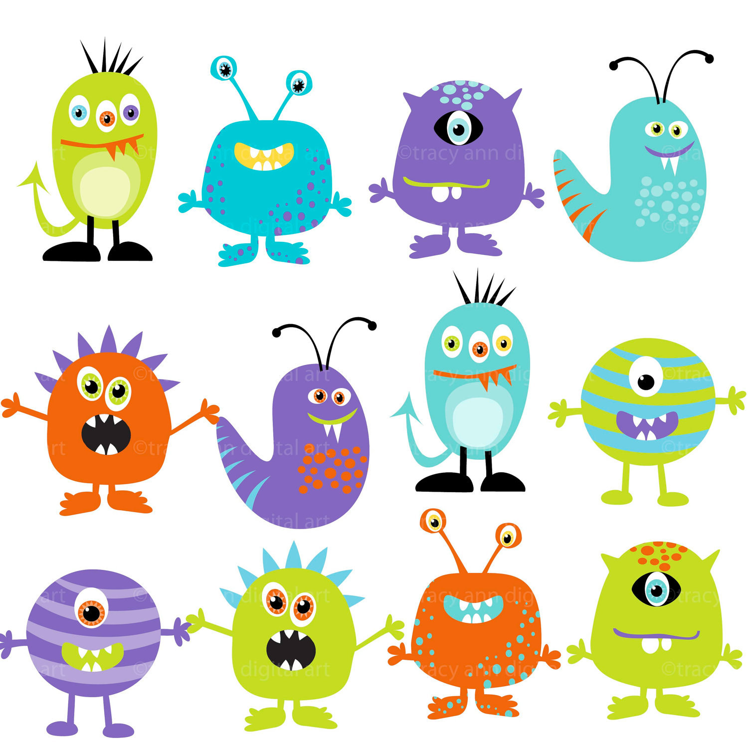 Monster Clipart Digital Monsters Set Of -Monster Clipart Digital Monsters Set Of 12 By Tracyanndigitalart-15
