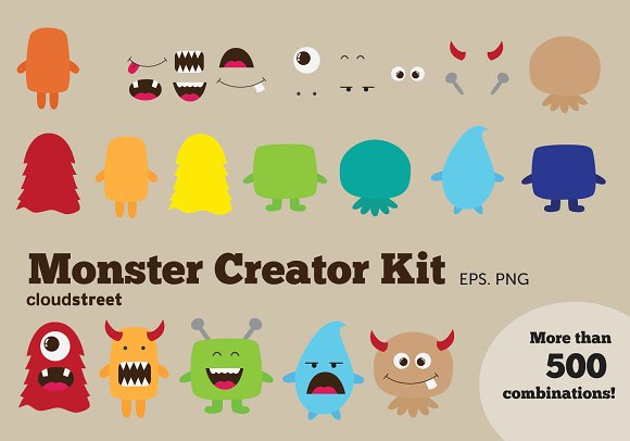 Monster Creator Kit Clipart - Illustrations