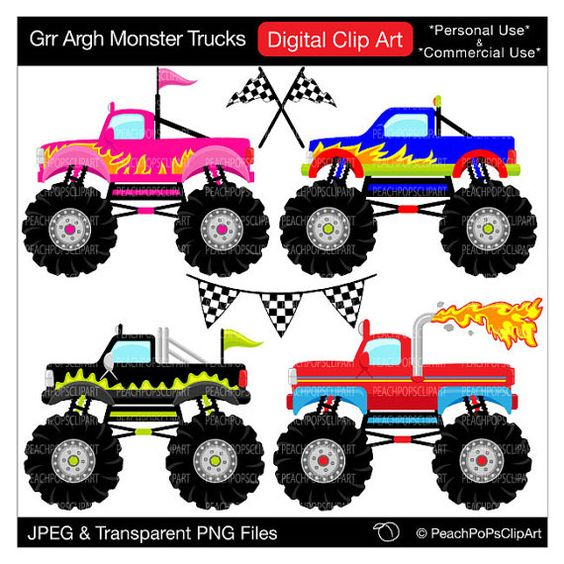 monster trucks clipart digital clip art -monster trucks clipart digital clip art Grr by peachpopsclipart, $5.00-14