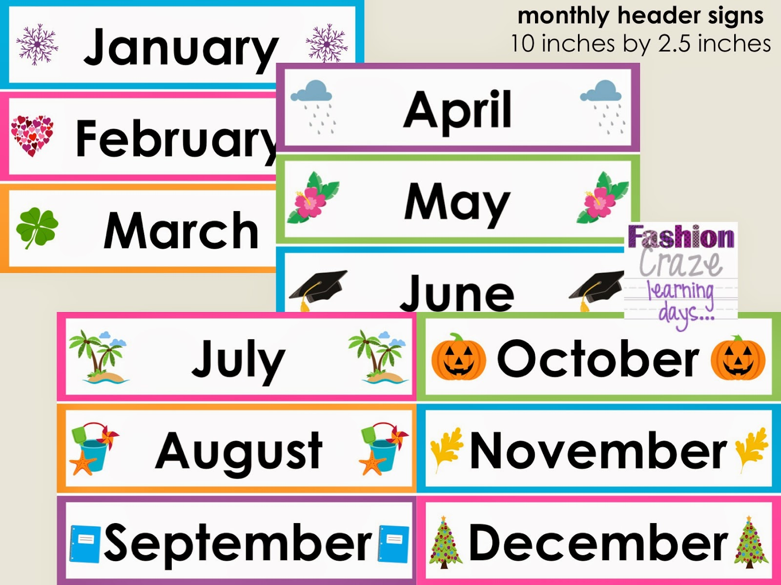 Month Headings Clipart