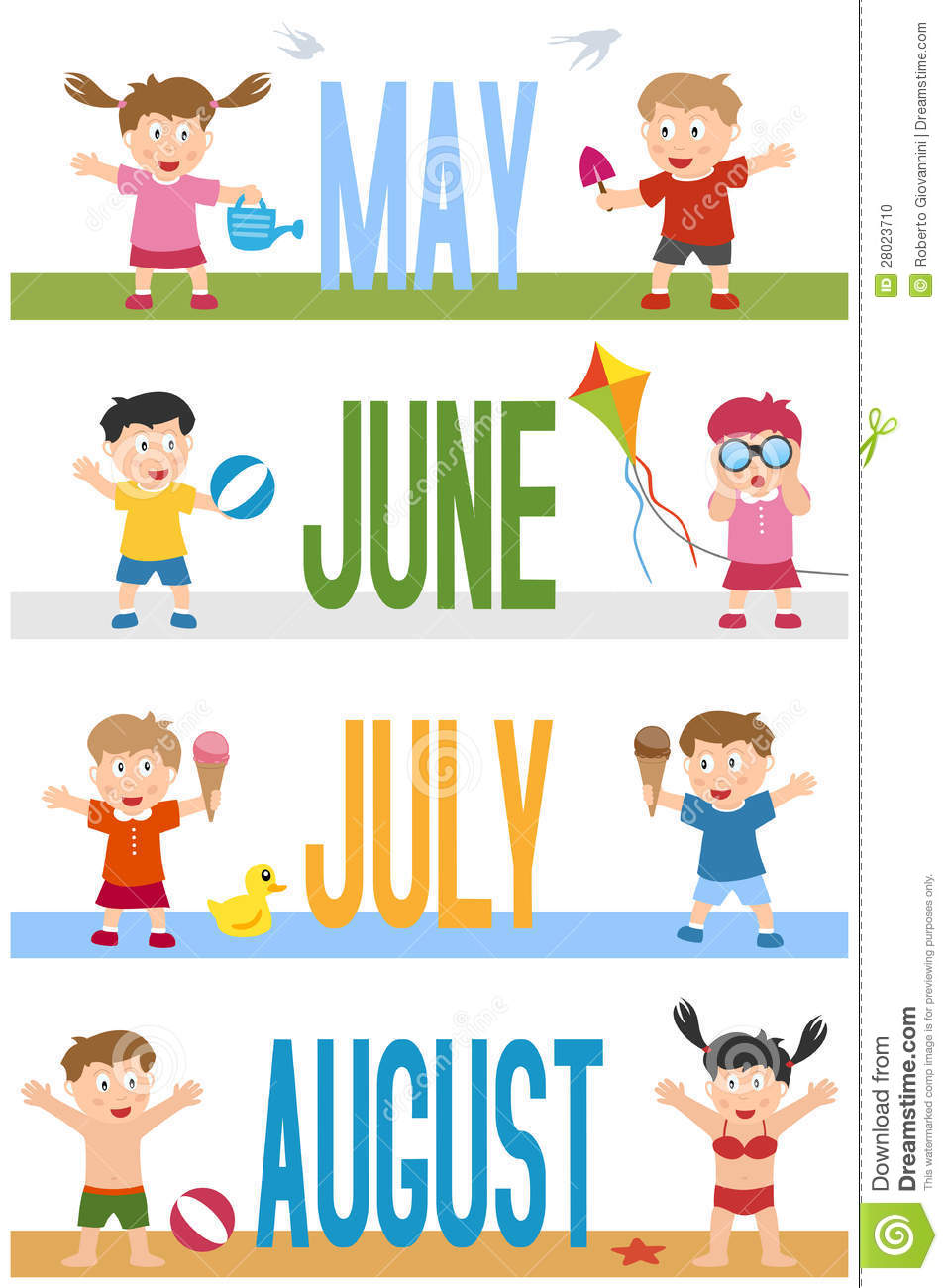 Month Of July Clipart Months Banners With Kids