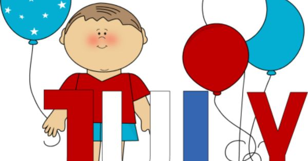 month of july | Red White and Blue July Clip Art Image - the word July