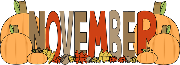 Month Of November Autumn Clip Art Image The Word November In Brown