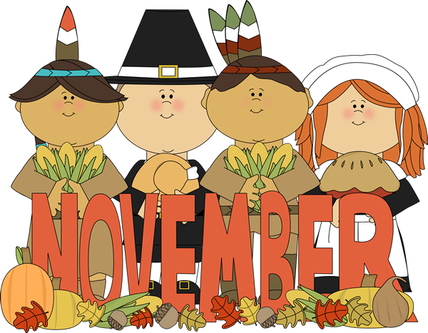 Month Of November Indians And Pilgrims Clip Art Month Of November