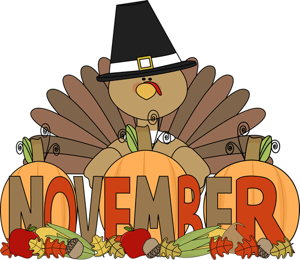 Month Of November Turkey Clip Art Image The Word November In Brown