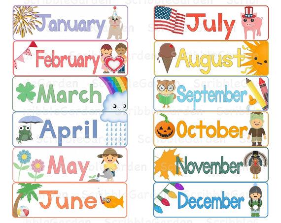 Months Clipart Months Calendar Toppers
