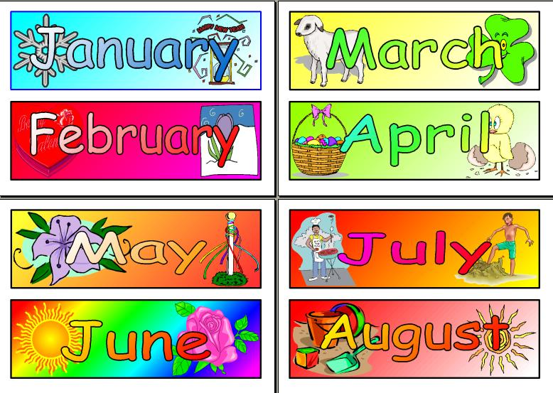 picture regarding Months of the Year Printable referred to as 16+ Weeks Of The 12 months Clipart ClipartLook
