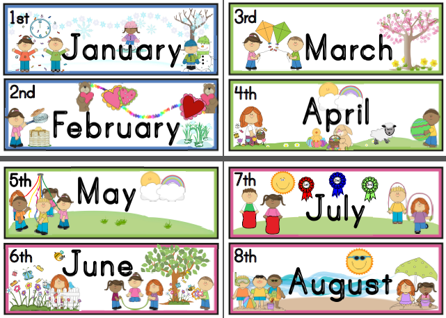 Free Month Clip Art | Red Whi