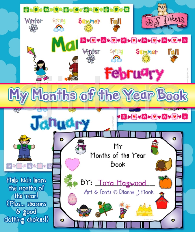 Months Of The Year Clipart My Months Of The Year Book
