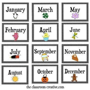 Months Of The Year Flashcards - Months Of The Year Clipart