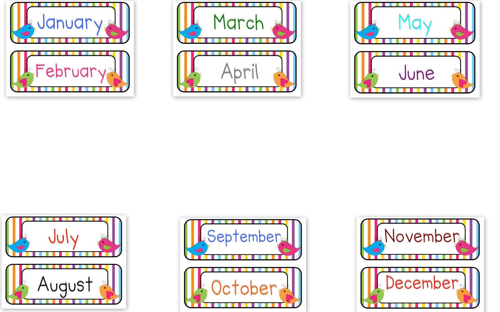 Months of Year Clip Art