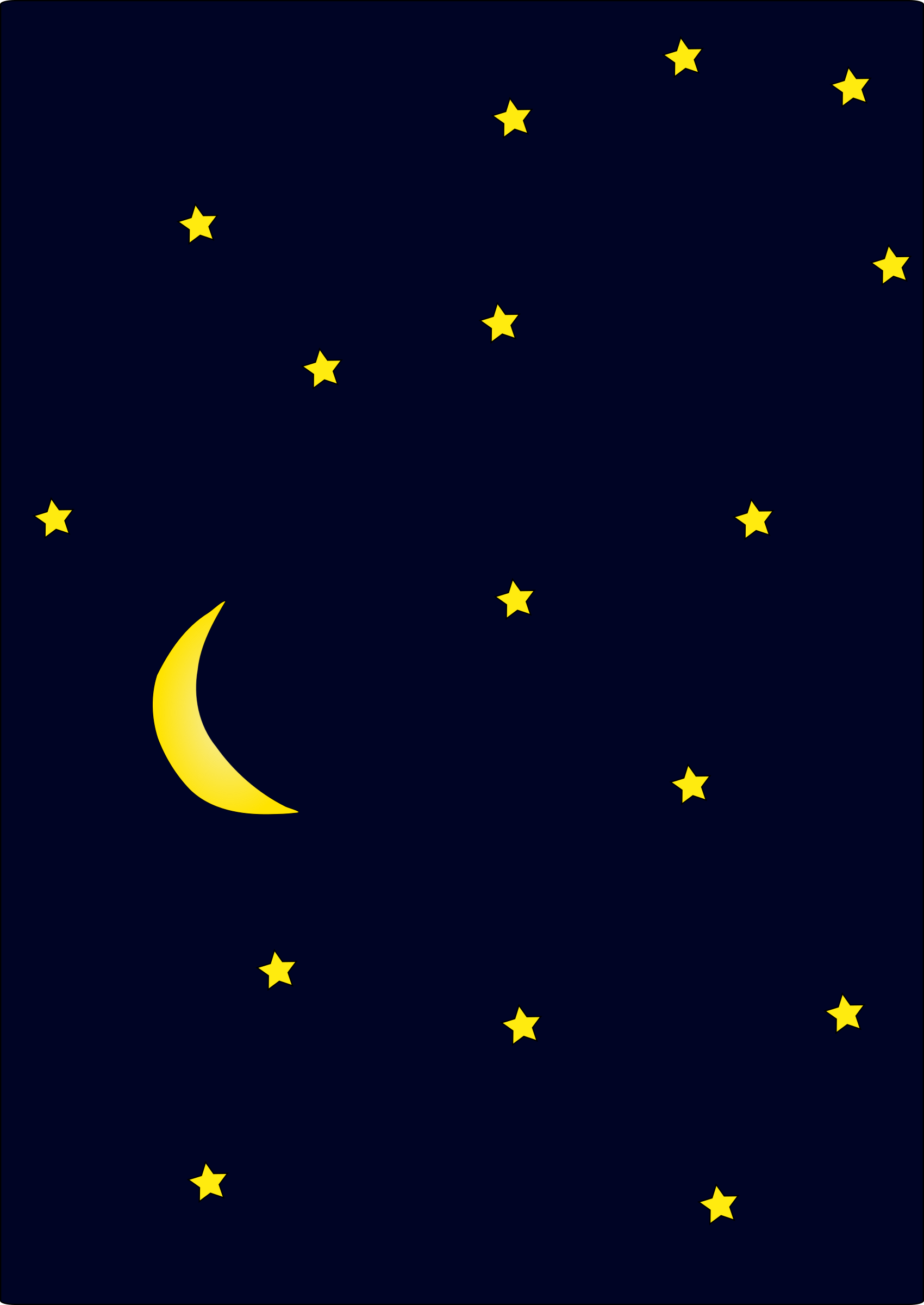 Moon In Dark Night Sky Full Of Stars