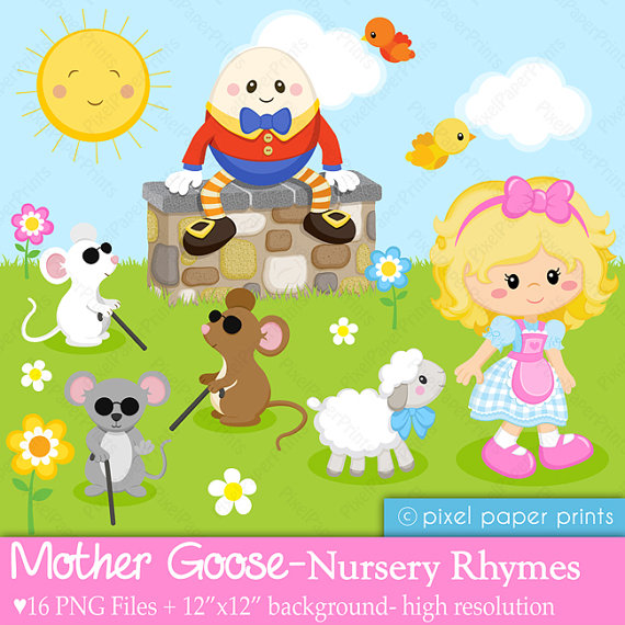 Mother Goose - Nursery Rhymes - Clipart -Mother Goose - Nursery Rhymes - Clipart and Digital paper set-6
