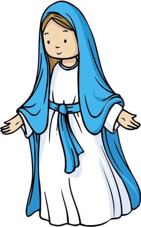Cute illustration of Mary, mother of Jesus, for Journaling Bible.