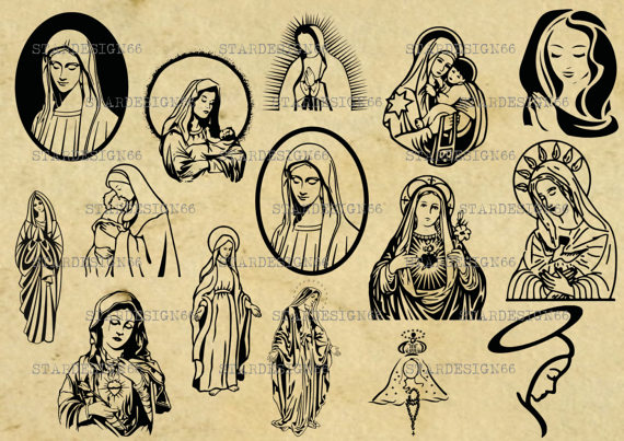 Digital SVG PNG JPG Virgin Mary, mary mother of jesus, vector, clipart,  silhouette, instant download from STARDESIGN66 on Etsy Studio