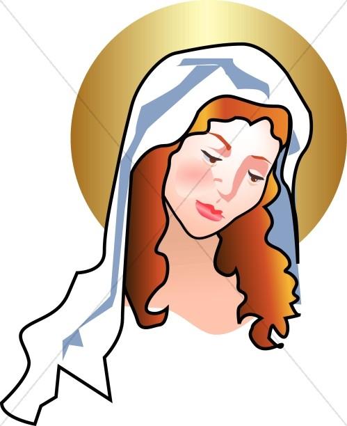 Mary Gazes Adoringly at Newborn Jesus