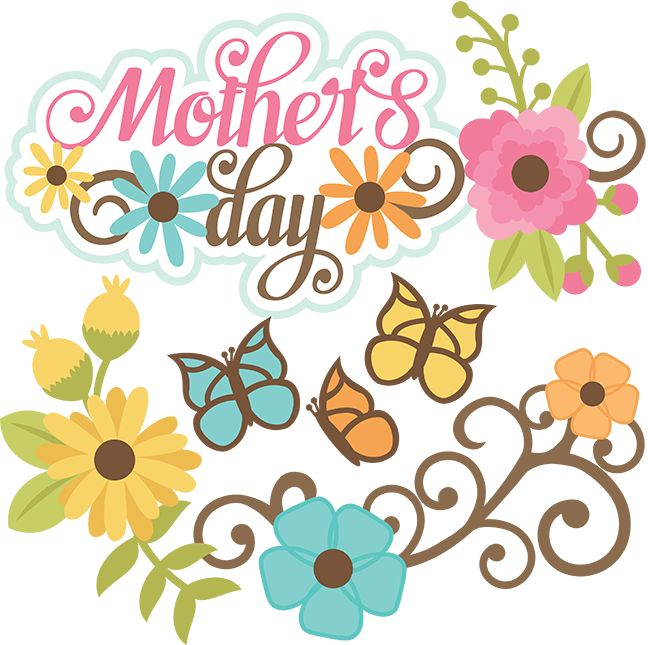 Mothers Day clip art with butterflies and flowers