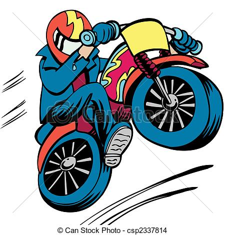 ... Motorcycle Man cartoon character isolated on a white.
