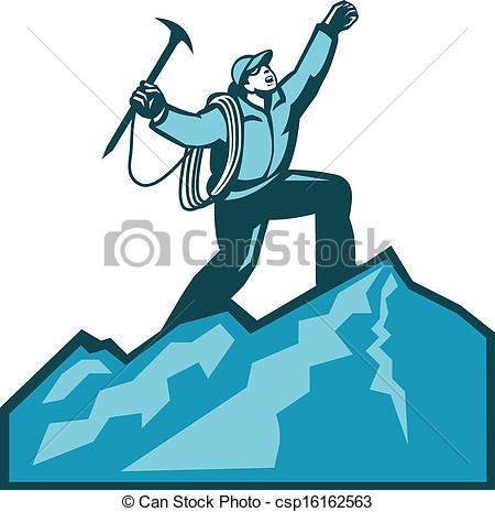 ... Mountain Climber Summit Retro - Illustration of mountain.