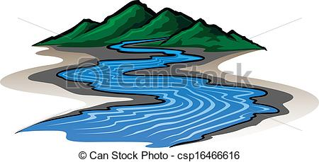 ... Mountains And River - Illustration O-... Mountains and River - Illustration of a graphic style.-4