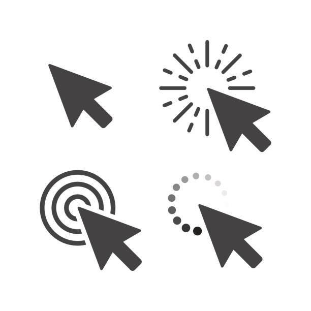 Computer mouse click cursor gray arrow icons set. Vector illustration  vector art illustration