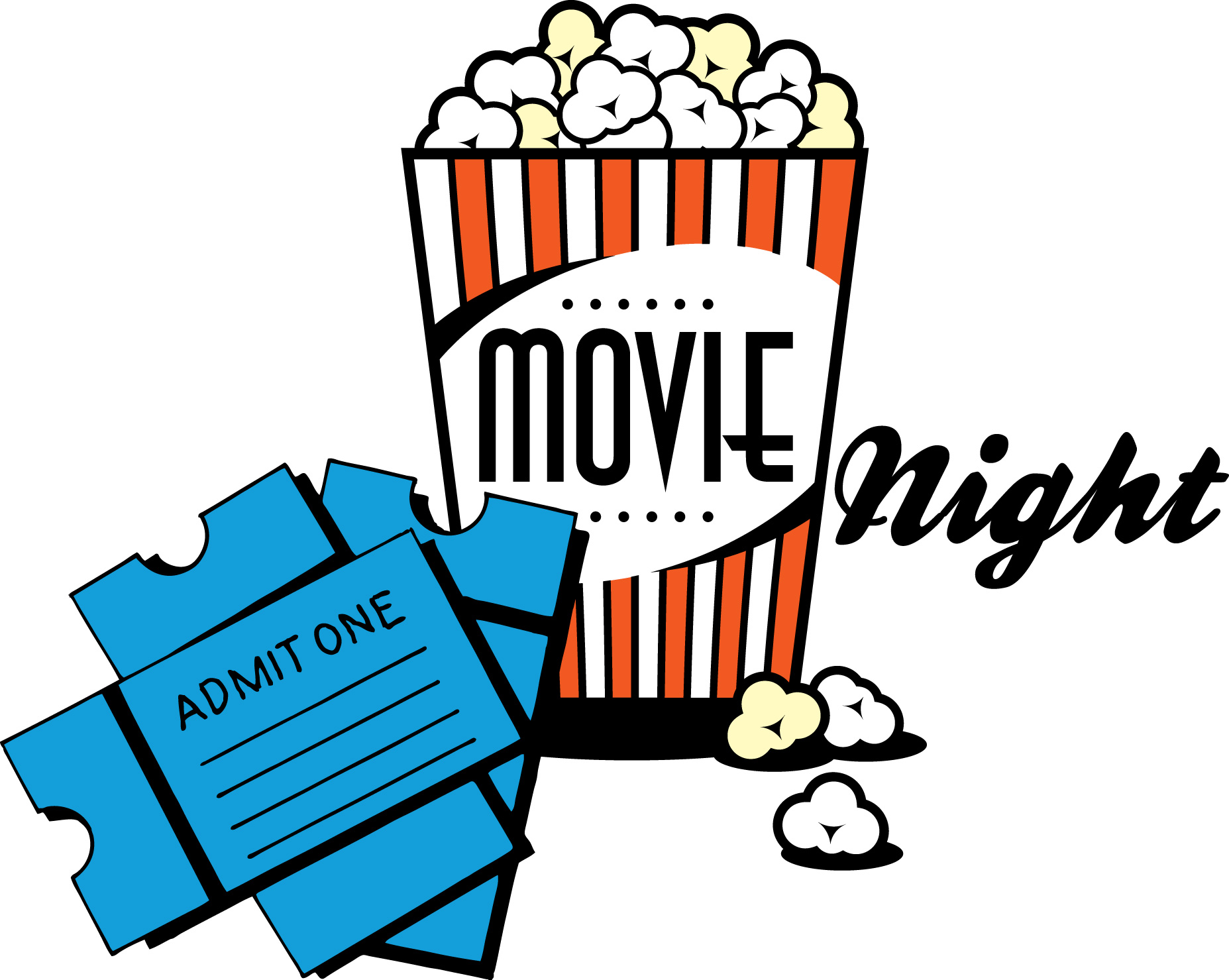 movie night popcorn clipart