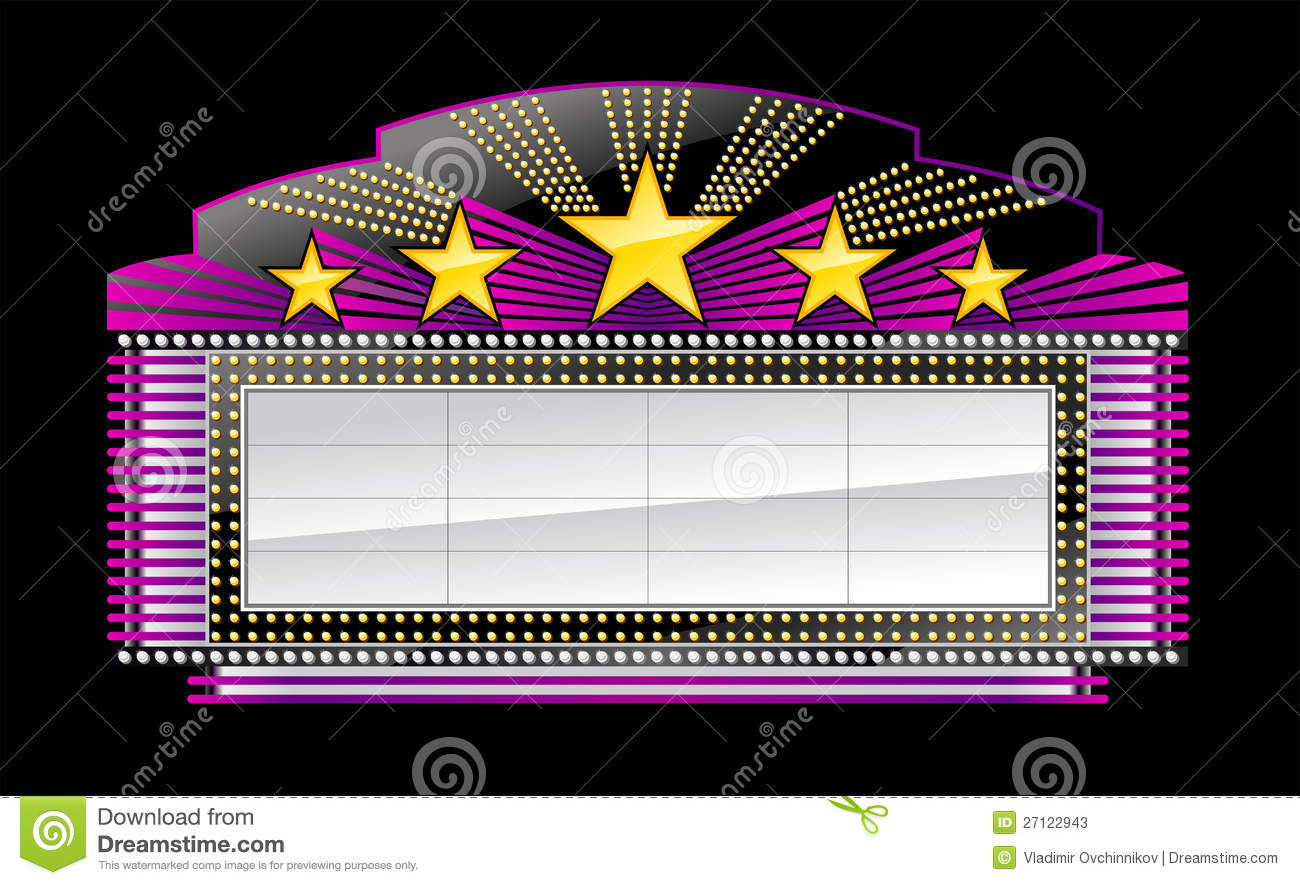 Movie Marquee Clipart Black And White Banner